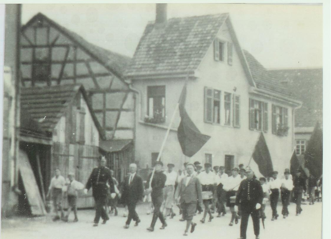 Die Mössinger Kommunisten beim Roten Tag in Tübingen 1932 (Stadtmuseum Mössingen)